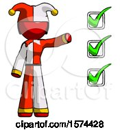 Red Jester Joker Man Standing By List Of Checkmarks