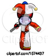 Red Jester Joker Man Looking Down Through Magnifying Glass