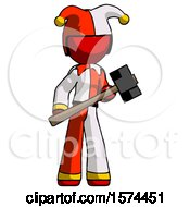 Red Jester Joker Man With Sledgehammer Standing Ready To Work Or Defend