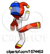Red Jester Joker Man Kick Pose