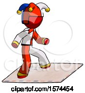 Red Jester Joker Man On Postage Envelope Surfing
