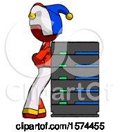 Red Jester Joker Man Resting Against Server Rack