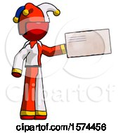 Red Jester Joker Man Holding Large Envelope