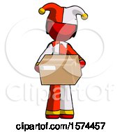 Red Jester Joker Man Holding Box Sent Or Arriving In Mail