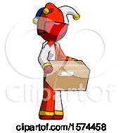 Red Jester Joker Man Holding Package To Send Or Recieve In Mail