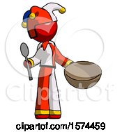 Red Jester Joker Man With Empty Bowl And Spoon Ready To Make Something