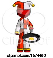 Poster, Art Print Of Red Jester Joker Man Frying Egg In Pan Or Wok