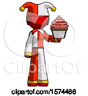 Red Jester Joker Man Presenting Pink Cupcake To Viewer
