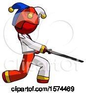 Red Jester Joker Man With Ninja Sword Katana Slicing Or Striking Something