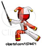 Red Jester Joker Man With Ninja Sword Katana In Defense Pose