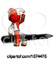 Red Jester Joker Man Riding A Pen Like A Giant Rocket