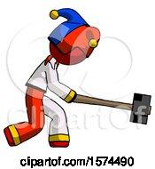Red Jester Joker Man Hitting With Sledgehammer Or Smashing Something