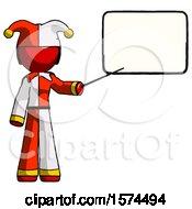 Red Jester Joker Man Giving Presentation In Front Of Dry Erase Board