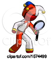 Red Jester Joker Man Inspecting With Large Magnifying Glass Right