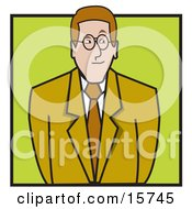 Nervous Businessman Or Lawyer In A Green Suit Clipart Illustration by Andy Nortnik