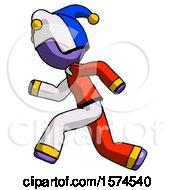 Poster, Art Print Of Purple Jester Joker Man Running Fast Left