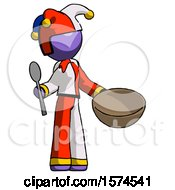 Purple Jester Joker Man With Empty Bowl And Spoon Ready To Make Something