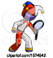 Purple Jester Joker Man Inspecting With Large Magnifying Glass Right