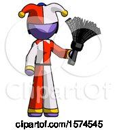 Purple Jester Joker Man Holding Feather Duster Facing Forward
