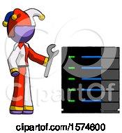 Purple Jester Joker Man Server Administrator Doing Repairs