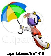 Purple Jester Joker Man Flying With Rainbow Colored Umbrella