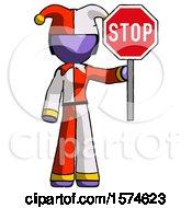 Purple Jester Joker Man Holding Stop Sign