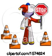 Purple Jester Joker Man Holding Stop Sign By Traffic Cones Under Construction Concept