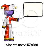 Purple Jester Joker Man Giving Presentation In Front Of Dry Erase Board