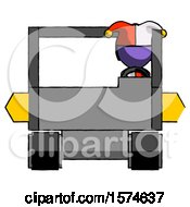 Poster, Art Print Of Purple Jester Joker Man Driving Amphibious Tracked Vehicle Front View
