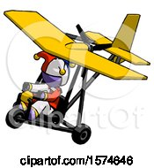 Purple Jester Joker Man In Ultralight Aircraft Top Side View