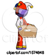 Purple Jester Joker Man Holding Package To Send Or Recieve In Mail