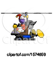 Purple Jester Joker Man Flying In Gyrocopter Front Side Angle View
