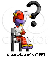 Purple Jester Joker Man Question Mark Concept Sitting On Chair Thinking