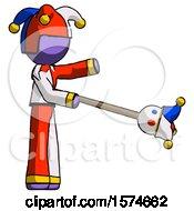 Purple Jester Joker Man Holding Jesterstaff I Dub Thee Foolish Concept
