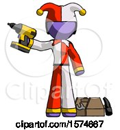 Purple Jester Joker Man Holding Drill Ready To Work Toolchest And Tools To Right