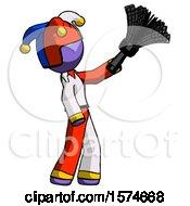 Purple Jester Joker Man Dusting With Feather Duster Upwards