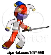 Purple Jester Joker Man Stabbing With Ninja Sword Katana