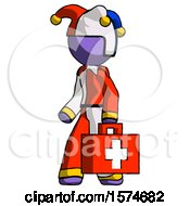 Purple Jester Joker Man Walking With Medical Aid Briefcase To Left