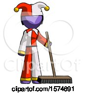 Purple Jester Joker Man Standing With Industrial Broom