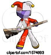 Purple Jester Joker Man Broom Fighter Defense Pose