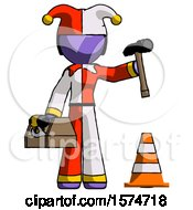 Purple Jester Joker Man Under Construction Concept Traffic Cone And Tools