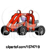 Purple Jester Joker Man Riding Sports Buggy Side Angle View