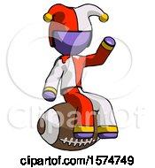 Poster, Art Print Of Purple Jester Joker Man Sitting On Giant Football