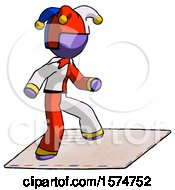 Purple Jester Joker Man On Postage Envelope Surfing