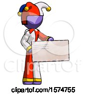 Purple Jester Joker Man Presenting Large Envelope