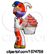 Purple Jester Joker Man Holding Large Cupcake Ready To Eat Or Serve