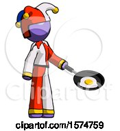 Purple Jester Joker Man Frying Egg In Pan Or Wok Facing Right