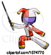 Purple Jester Joker Man With Ninja Sword Katana In Defense Pose