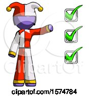 Purple Jester Joker Man Standing By List Of Checkmarks