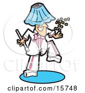 Silly Man In A White And Pink Uniform Dancing With A Lamp Shade On His Head And Throwing Confetti